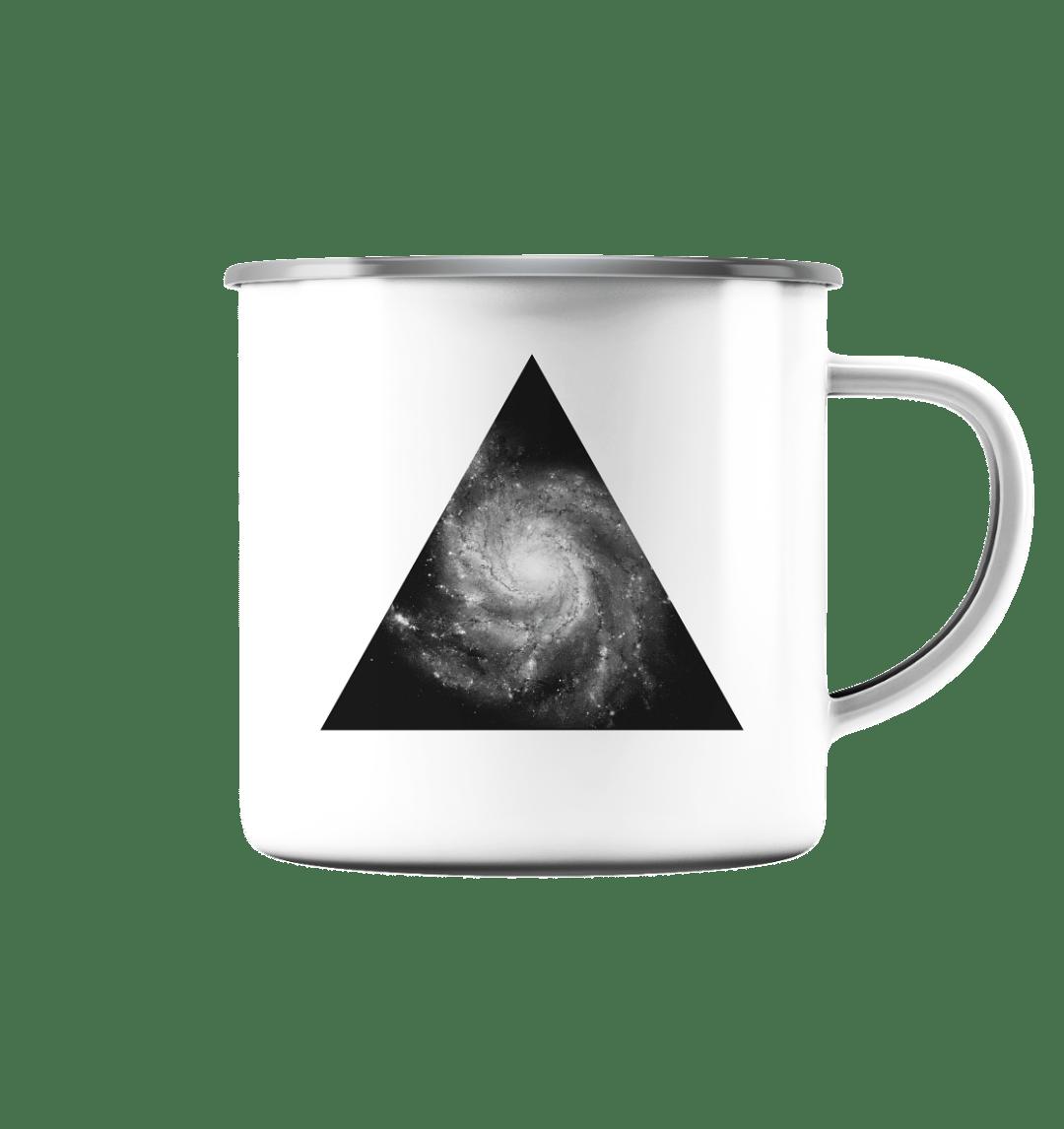Universe - Galaxie Motiv auf einer Emaille Tasse.
