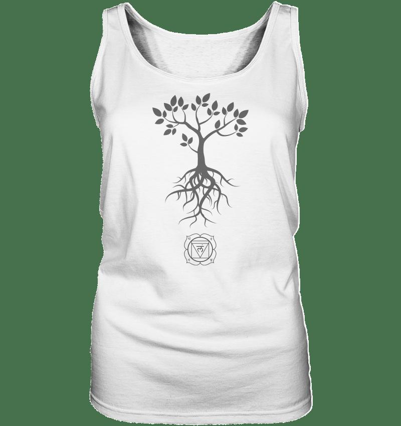 Wurzelchakra Chakra Symbol- Baummotiv auf einem Damen Top