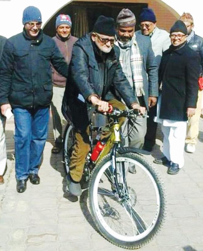 Sushil Koirala cycling