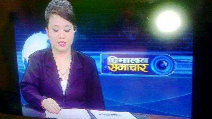 Kamala Shrestha News reading in Himalaya Television