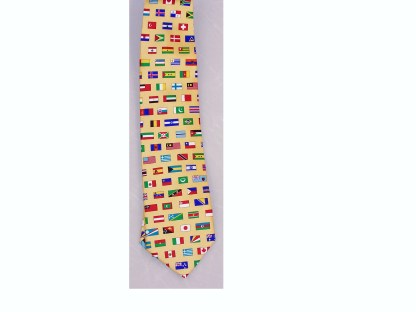 This is a 100% silk necktie on yellow background with flags of the world.-0
