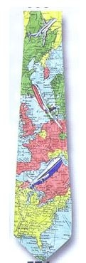 Airplane Map Polyester Tie-0