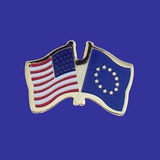 USA+European Union Friendship Pin-0
