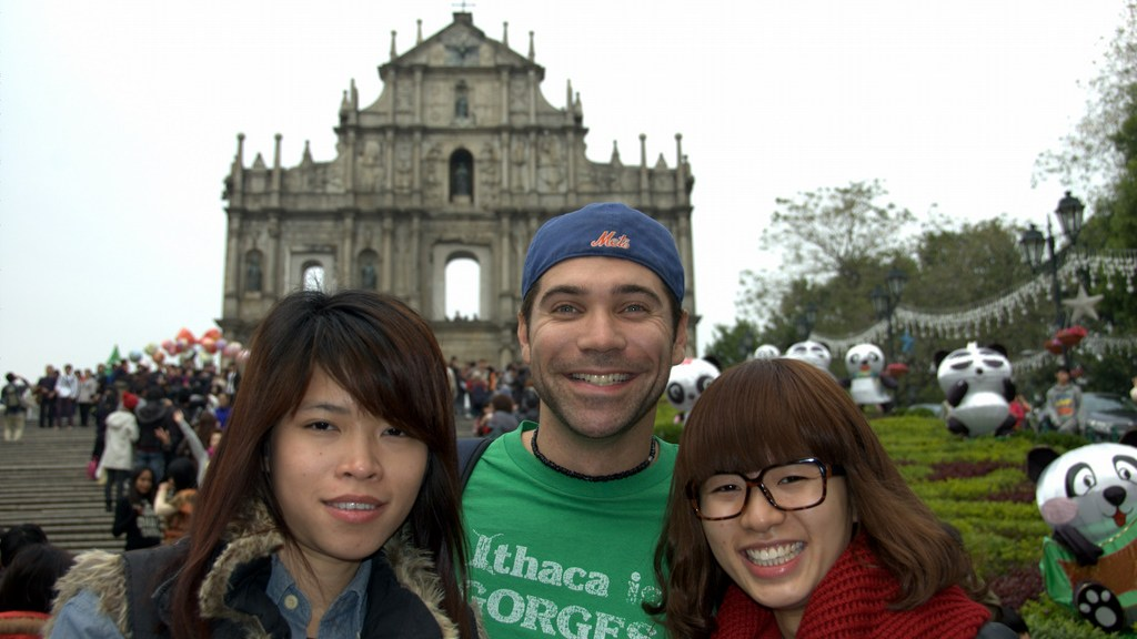 Macau's Ruins of St Paul. People kept coming up to me and asking to take a picture with me. This group of 7 girls showed me their camera, wanting me to be in a group photo. Then a two-shot. Then another girl joined, but also wanted an individual shot with me. This went on for about 20 photos.