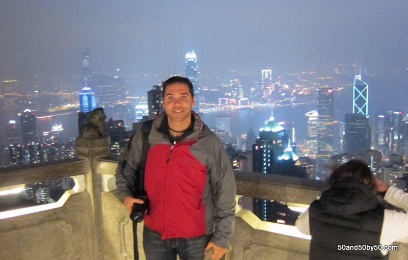 me and the view from Victoria Peak Hong Kong skyline