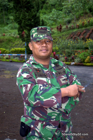 Indonesian Military portrait - enroute to the Ijen volcano in Java