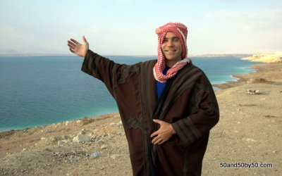 me at the Dead Sea, wearing traditional Jordanian clothes