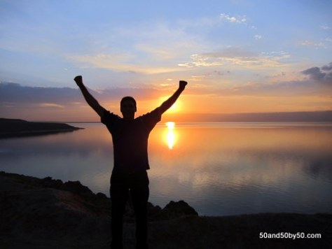 Dead Sea Sunset silhouette in Jordan