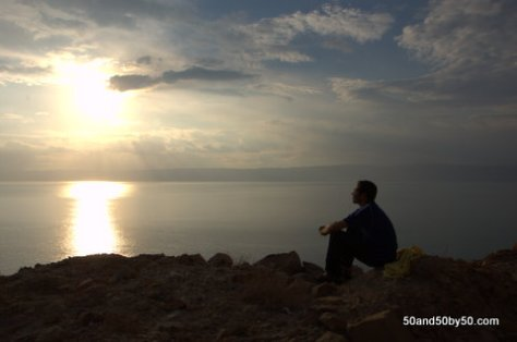 enjoying a sunset at the Dead Sea