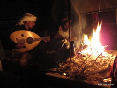 singing by the fire in Wadi Rum desert in Jordan