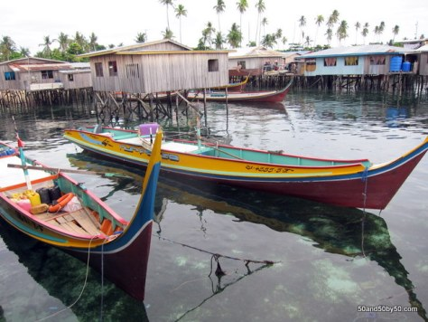 boats in Mabul - view from Longhouse hostels