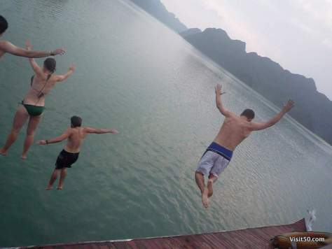 Jumping off the boat in Vietnam!