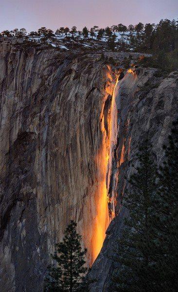 Travel Trivia horsetail fall in yosemite