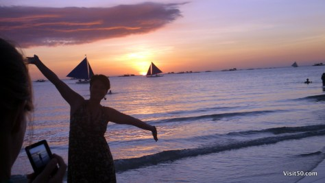 Boracay Sunset Silhouettes at the beach Philippines
