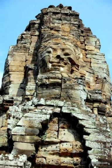 Face in Angkor Thom area in Cambodia
