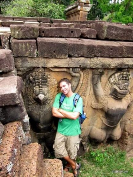 nearly every wall of Angkor Thom aresculpted, Siem Reap, Cambodia