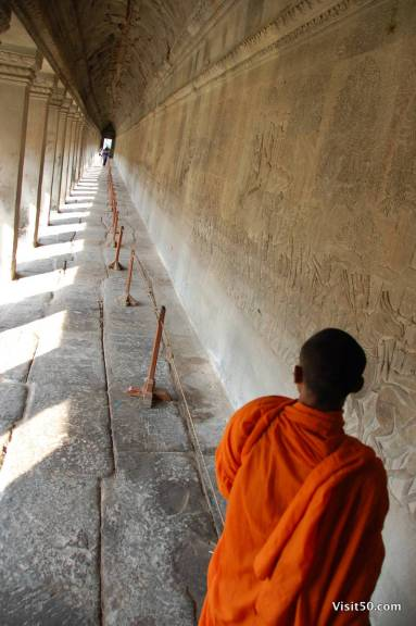a monk at - Angkor Wat