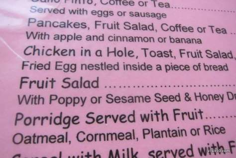 Hmm...do I want Chicken in a Hole or Porridge?