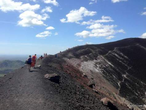 climbing up for Volcano Boarding in Nicaragua