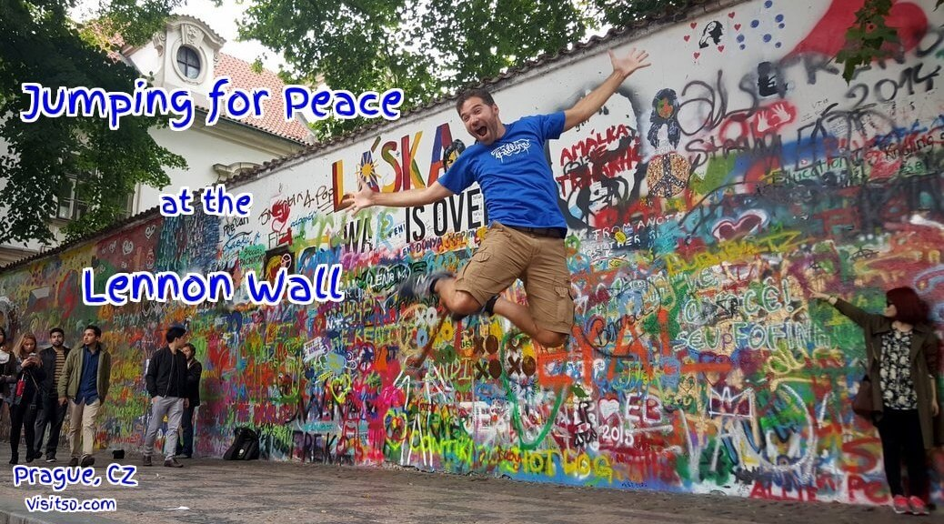 Jumping for Peace Lennon Wall Prague