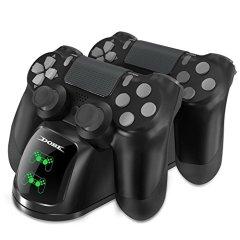 DOBE Cargador Mando para PS4, Estación de carga DualShock 4, Cargador USB con Soporte Indicador del LED para Playstation 4, PlayStation 4 Slim and PlayStation 4 Pro Gamepa
