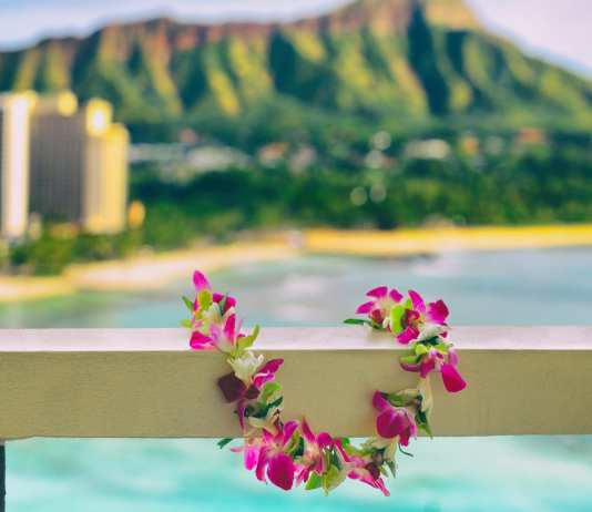 Hawaii background Hawaiian lei with Waikiki beach landscape