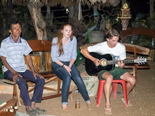 Serenading the villagers