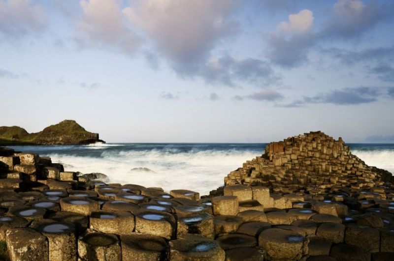 View out to sea at The Giant's Causeway in County Antrim, Northern Ireland