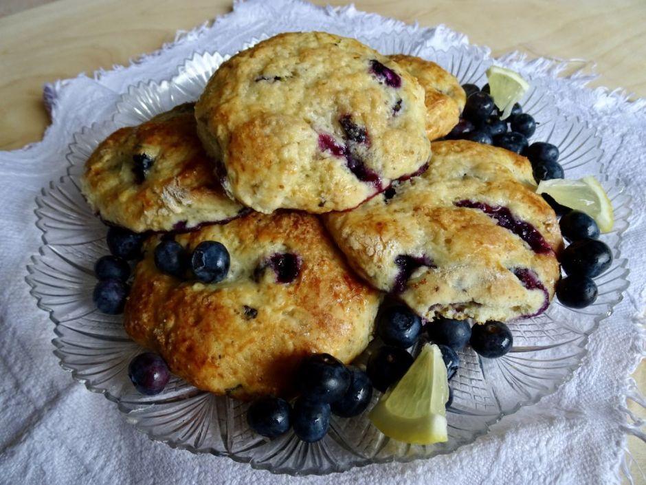 Blueberry Scones and lemon zest on a transparent dish