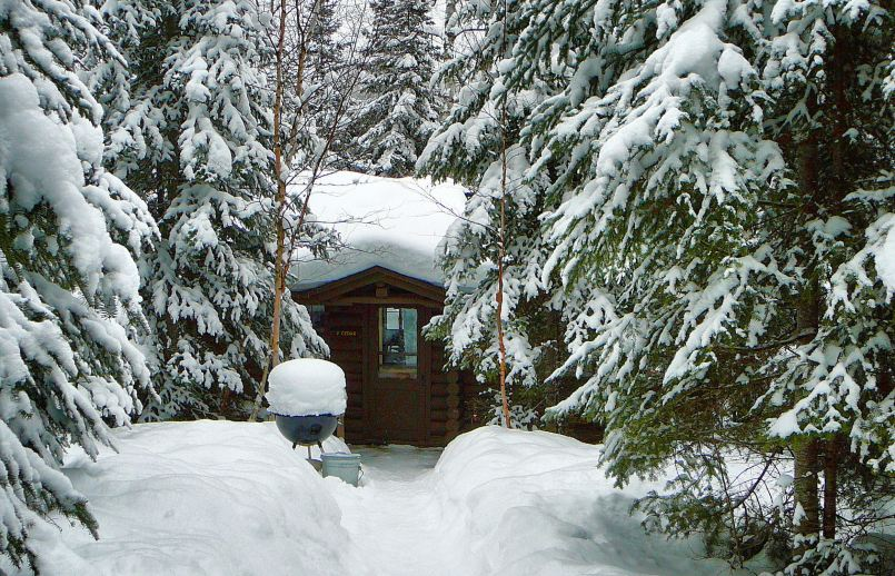 Bearskin Lodge Cabin exterior 2 in winter