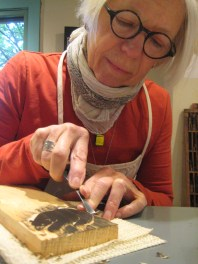 Betsy Bowen at work in her studio