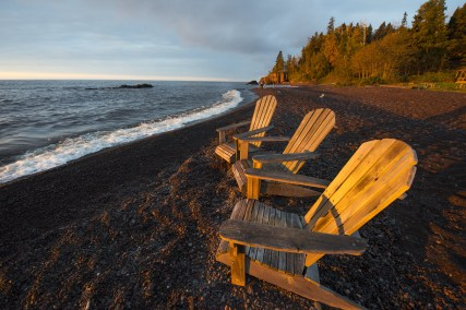 Lutsen Resort on Lake Superior beach adirondack chairs