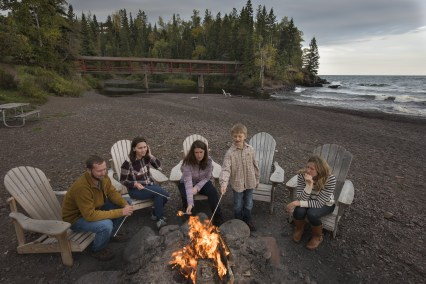 Lutsen Resort summer beach bonfire