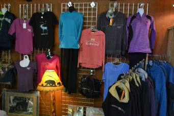 Nor'Wester Gift Shop interior display of tops