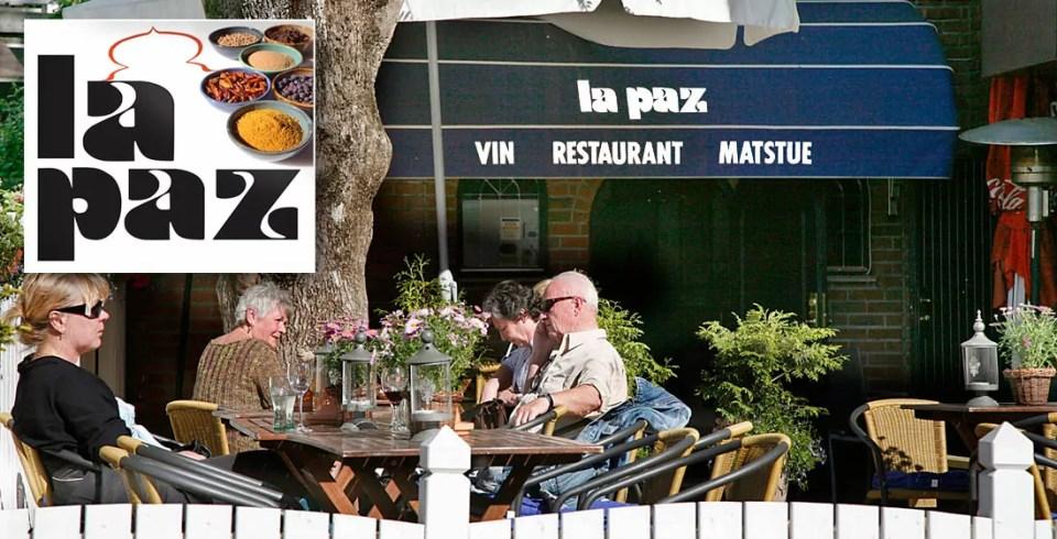La Paz har en hyggelig, liten hage for servering og spesialiserer seg mest på biff med mexicansk krydder og tilberedning.