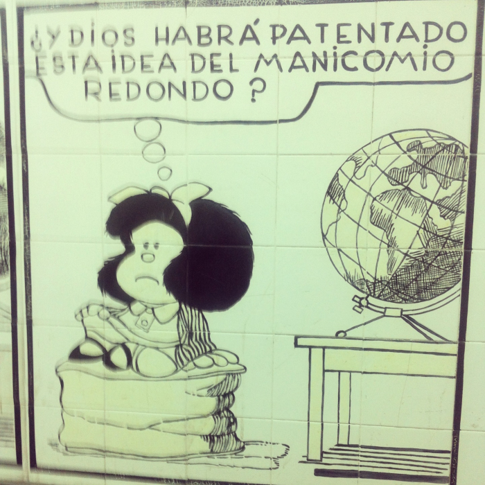 Iconic comic strip, Mafalda.