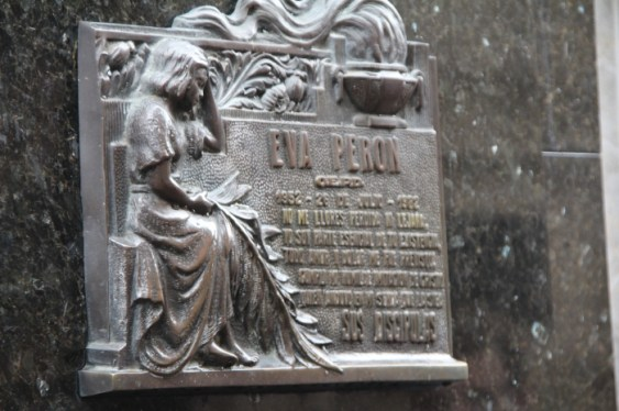 A memorial plate to Eva Peron