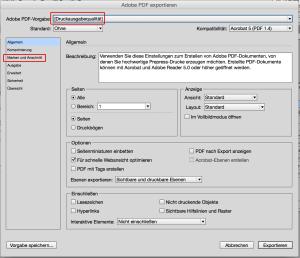 InDesign PDF Vorgaben