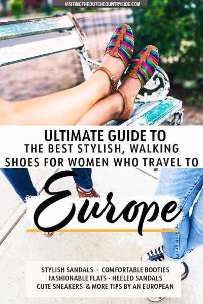 Discover the best fancy and casual shoes for your travels and trips to Europe. Including boots, sneakers, sandals, leather shoes, cute and good walking shoes. You will also discover the best, comfortable sandals for spring and summer. Find cute flats, heels, wedge shoes, Birkenstock and more womens shoes for Europe. Explore the best ankle boots and shoes for autumn and winter with Europe shoes tips by a local. Including a packing list for Europe and The Netherlands.