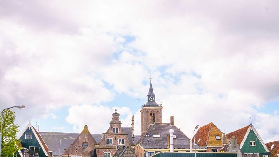 A view of the top part of the houses of De Rijp and the main church which can be found in the middle
