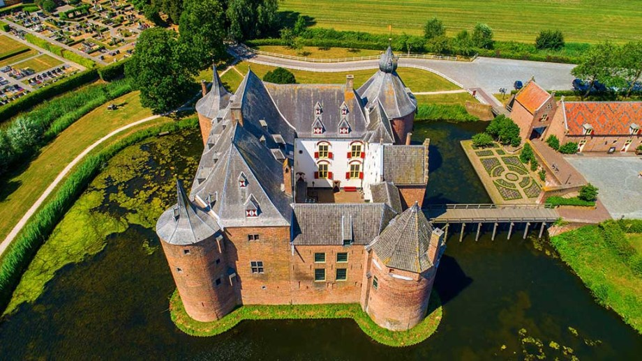 Aerial view of Ammersoyen Castle in the village Ammerzoden in the Netherlands.