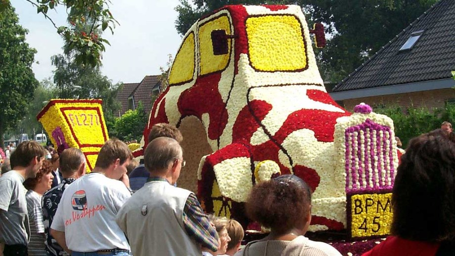 The flower parade of Leersum. A lot of dahlia covered floats can be seen in this town in The Netherlands