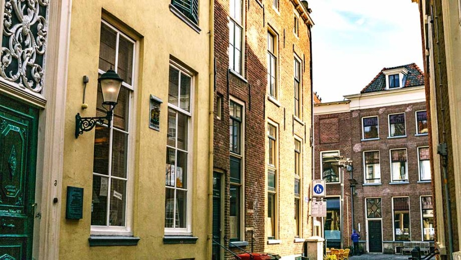 A beautiful monumental street with traditional Dutch houses in Zutphen, The Netherlands