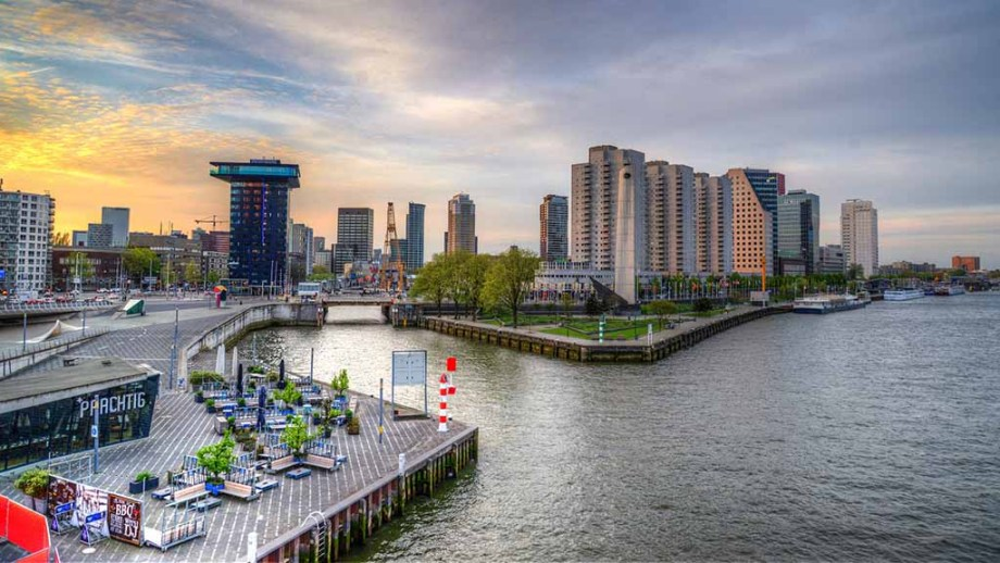 View on Rotterdam: high buildings, waterways and terraces.