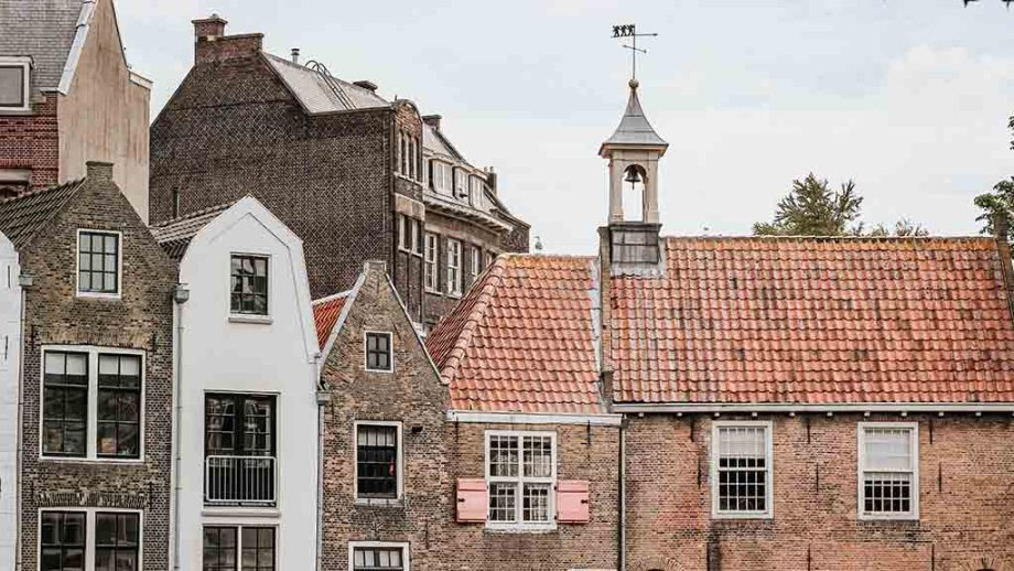 Delfshaven district in Rotterdam: old historic Middle Ages area of Rotterdam that survived WW2
