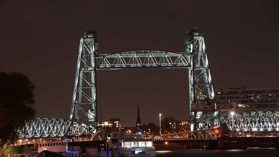Train bridge in Rotterdam, The Netherlands, at night