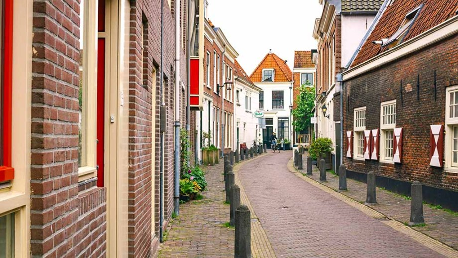 A cute street in the Dutch city of Haarlem, Noord- Holland, The Netherlands