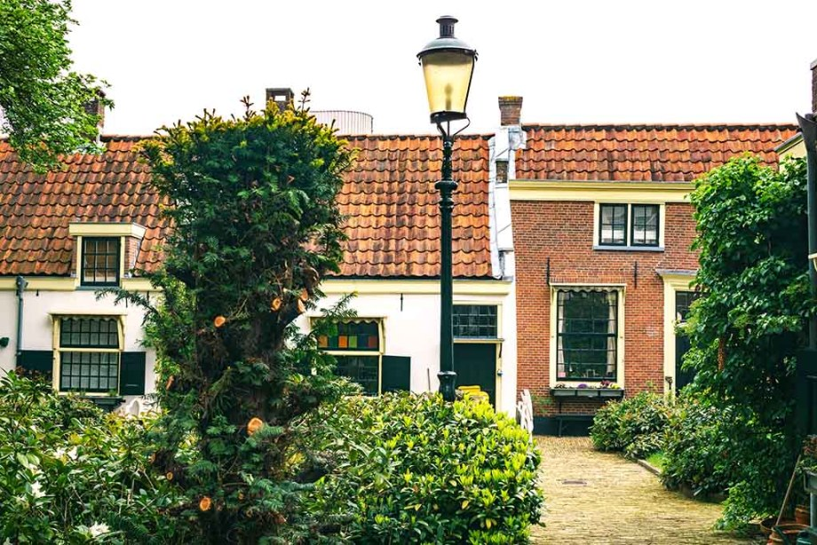Courtyard and almshouse in the Dutch city of Haarlem, Noord- Holland, The Netherlands