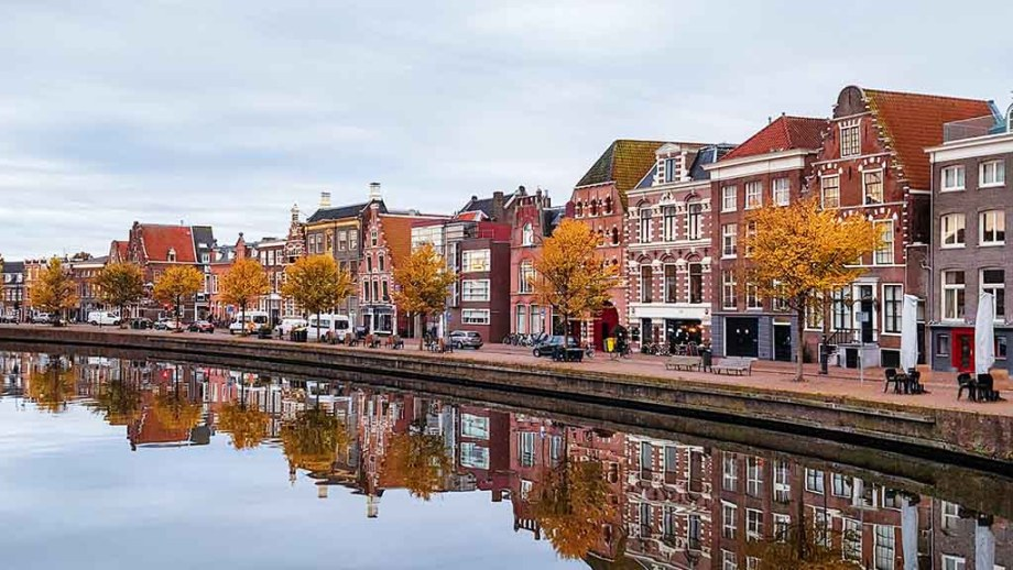Canal houses and canal in the Dutch city of Haarlem, Noord- Holland, The Netherlands