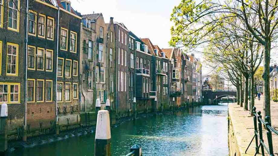 Canals in the city of Dordrecht; a canal tour can be taken in this city